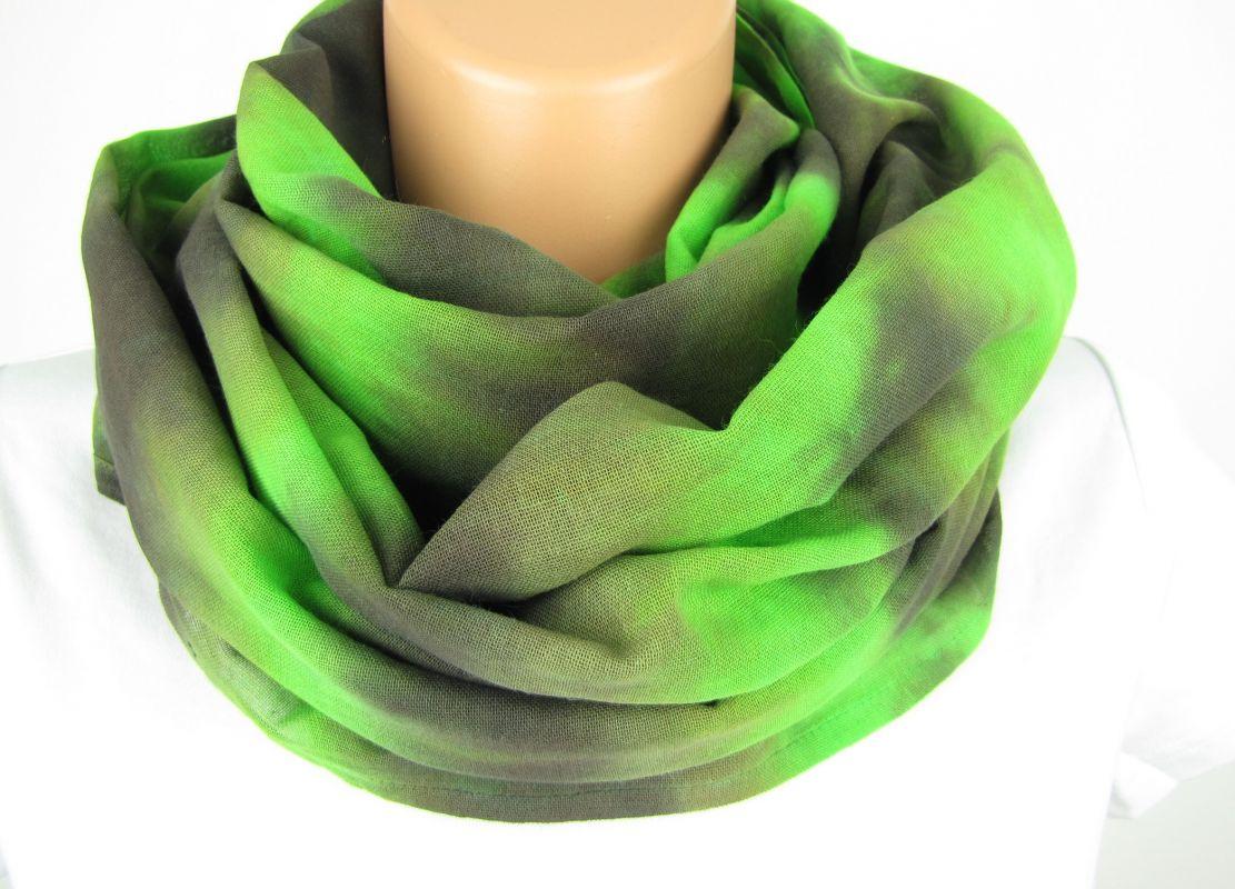 Zelený šátek tunel na krk batika