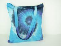 Taška nákupní přes rameno batika Modrá spirála