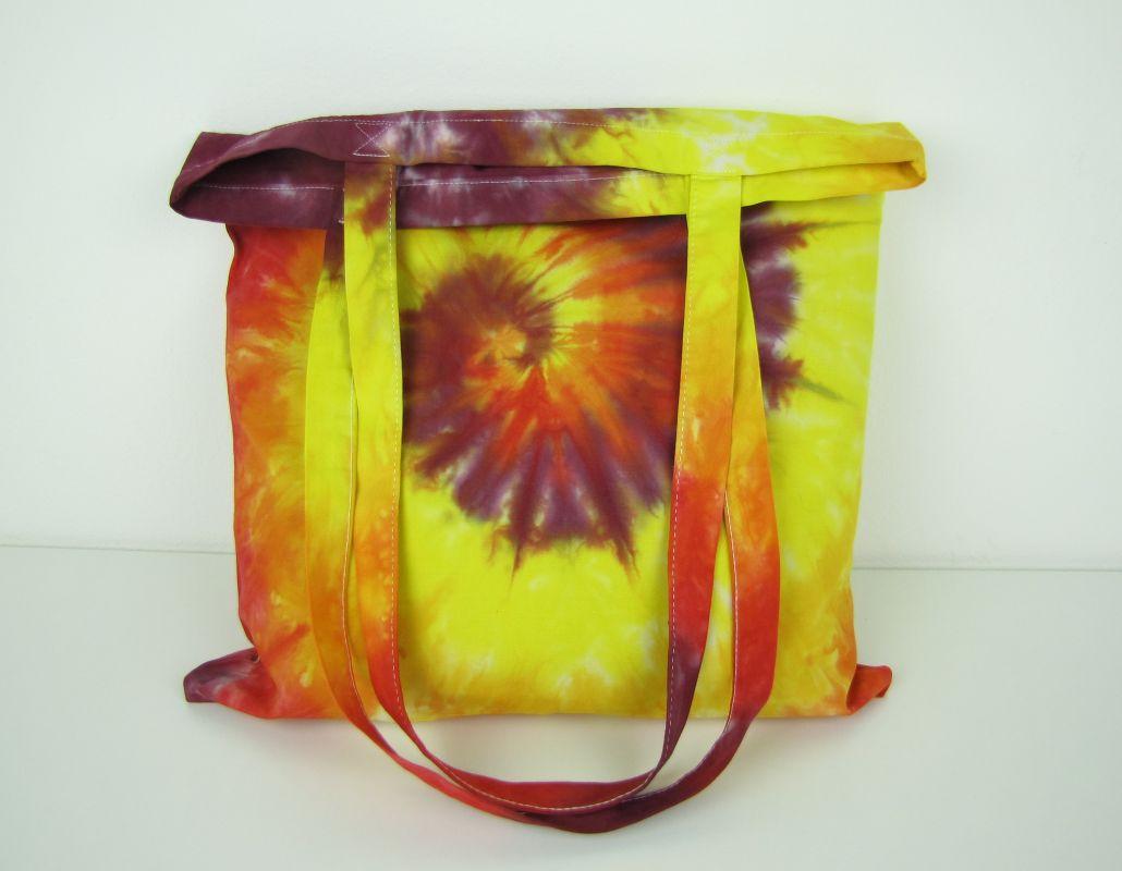 Nákupní taška přes rameno batika Ohnivá