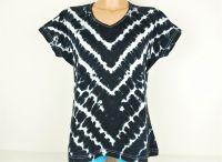 Dámské batikované tričko ČERNOBÍLÉ, XL