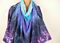 Pončo modré batika šátek 2v1