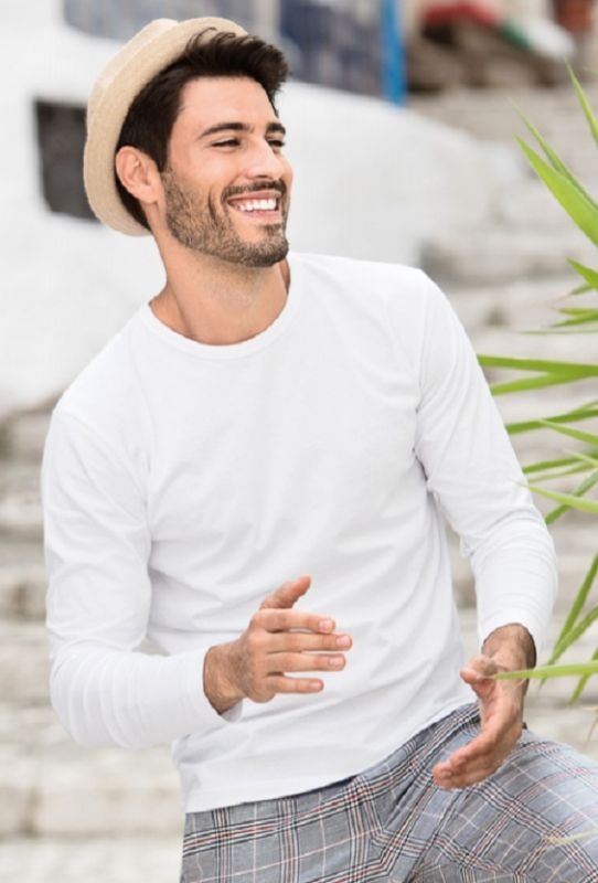 Pánské tričko bílé dlouhý rukáv