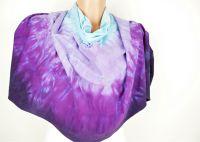 Fialové pončo na šaty šátek batika