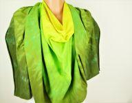 Zelené pončo šátek batika 2v1