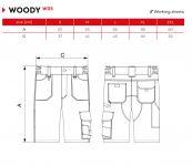 Pánské pracovní kalhoty šortky rozměry