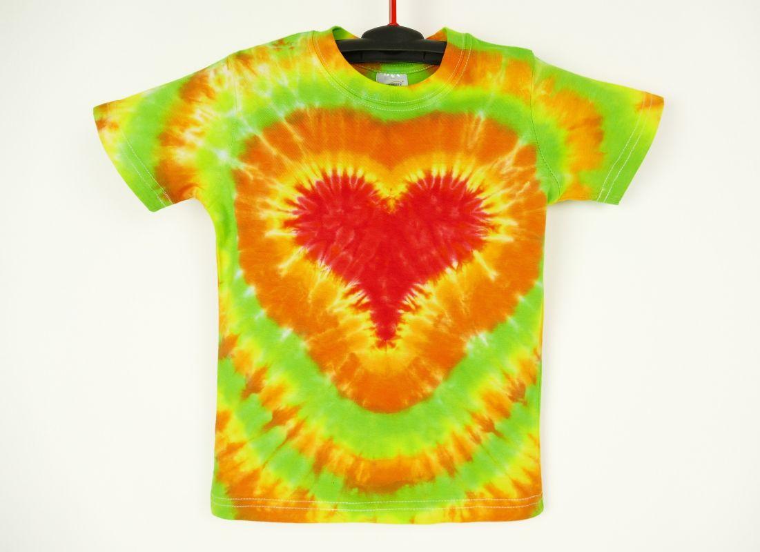 Dětské tričko se srdcem batika