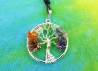 Strom života přívěšek s drahými kameny