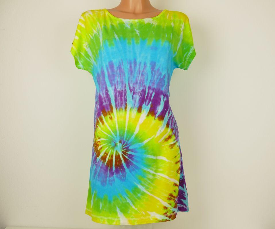 Batikované tričko šaty Limetka