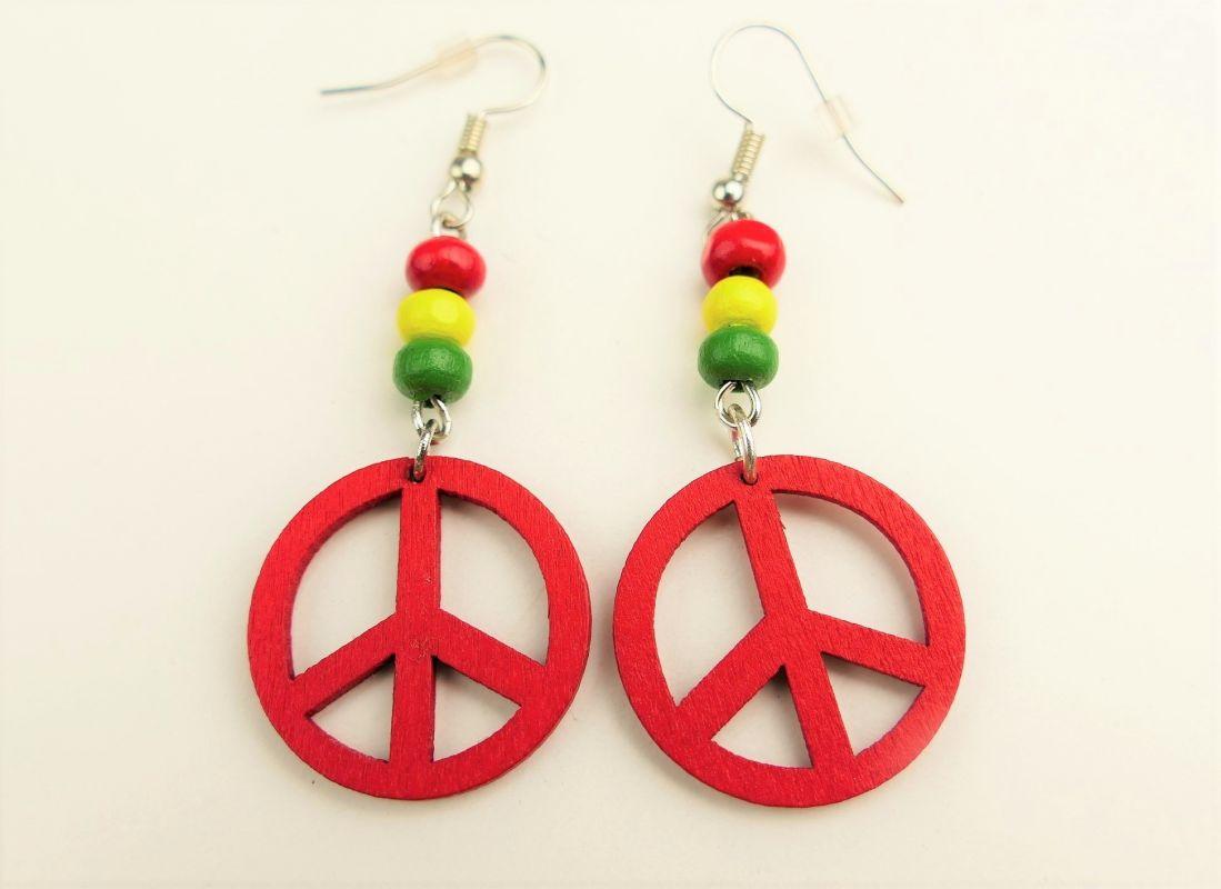 Hippies náušnice červené dřevěné