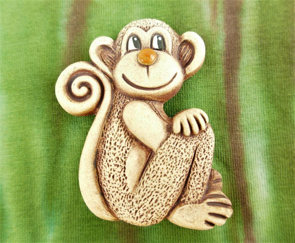 Keramická opice na magnet