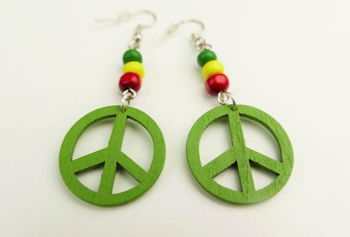 Hippies náušnice dřevěné zelené
