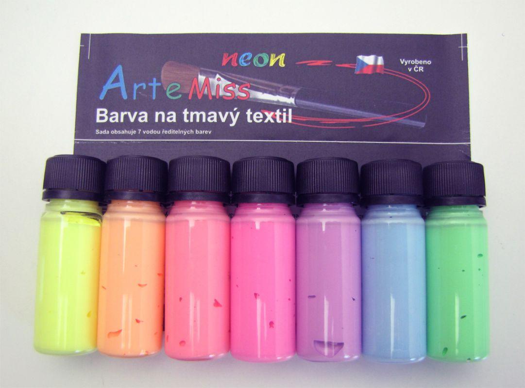 Neonové barvy na tmavý textil Artemiss - sada