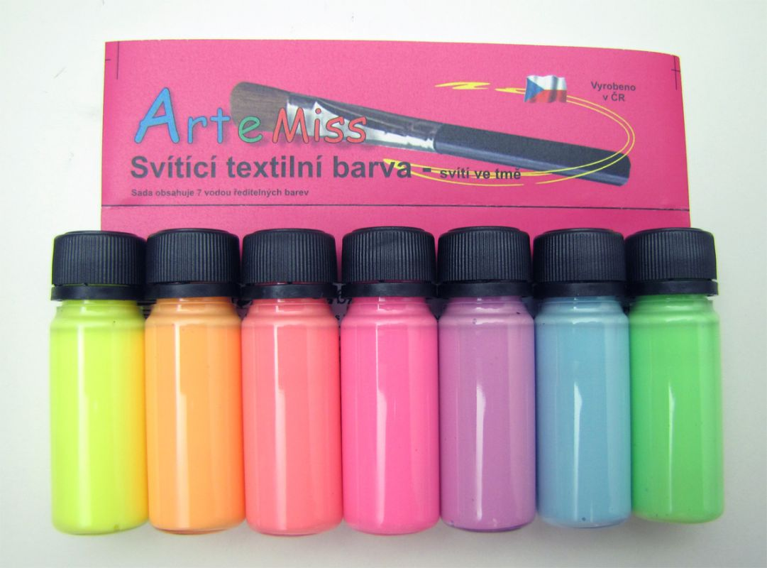 Svítící barvy na textil - sada