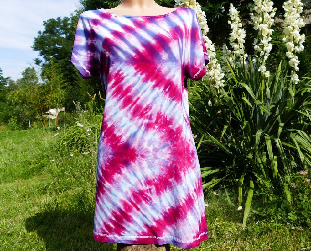 Dámské batikované šaty tričko magenta
