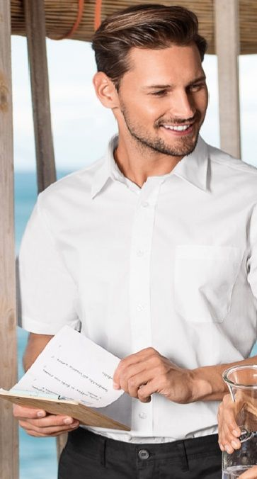Pánská košile bílá krátký rukáv