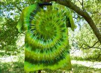 Batikované tričko ZELENÁ SPIRÁLA - na objednávku