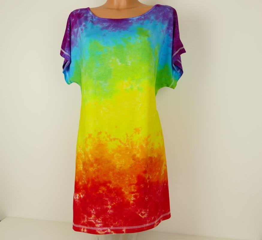 Dámské duhové šaty tričko dlouhé