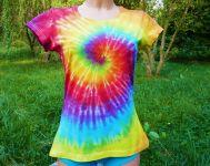 Dámské tričko batika DUHOVÁ SPIRÁLA