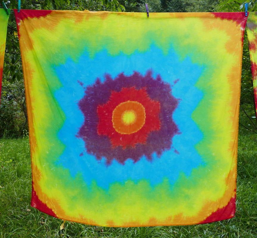 Duhová hvězda batika šátek velký