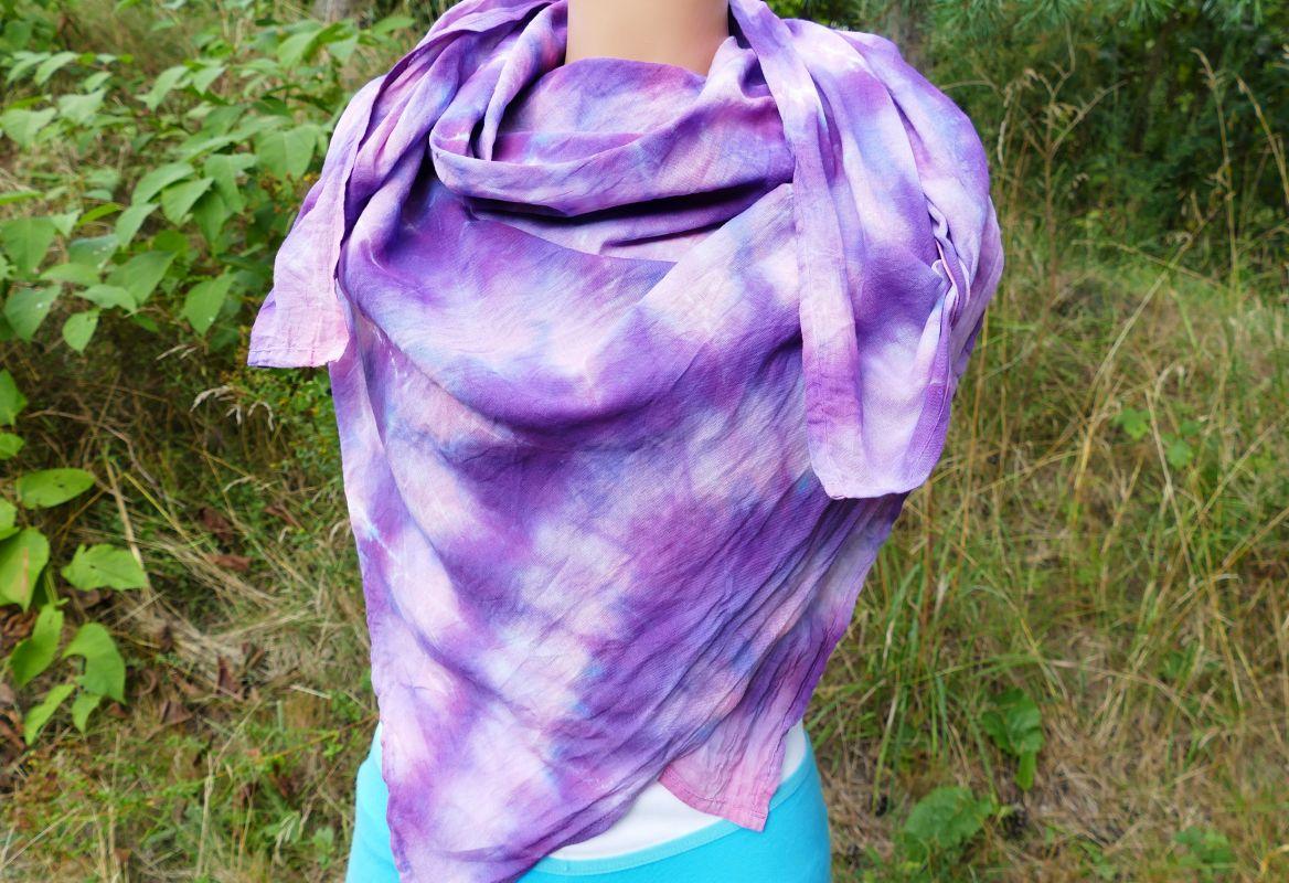 Fialkový šátek batika pareo velké