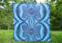 PAREO Šátek velký MODRÝ ORNAMENT batika, 140x130cm