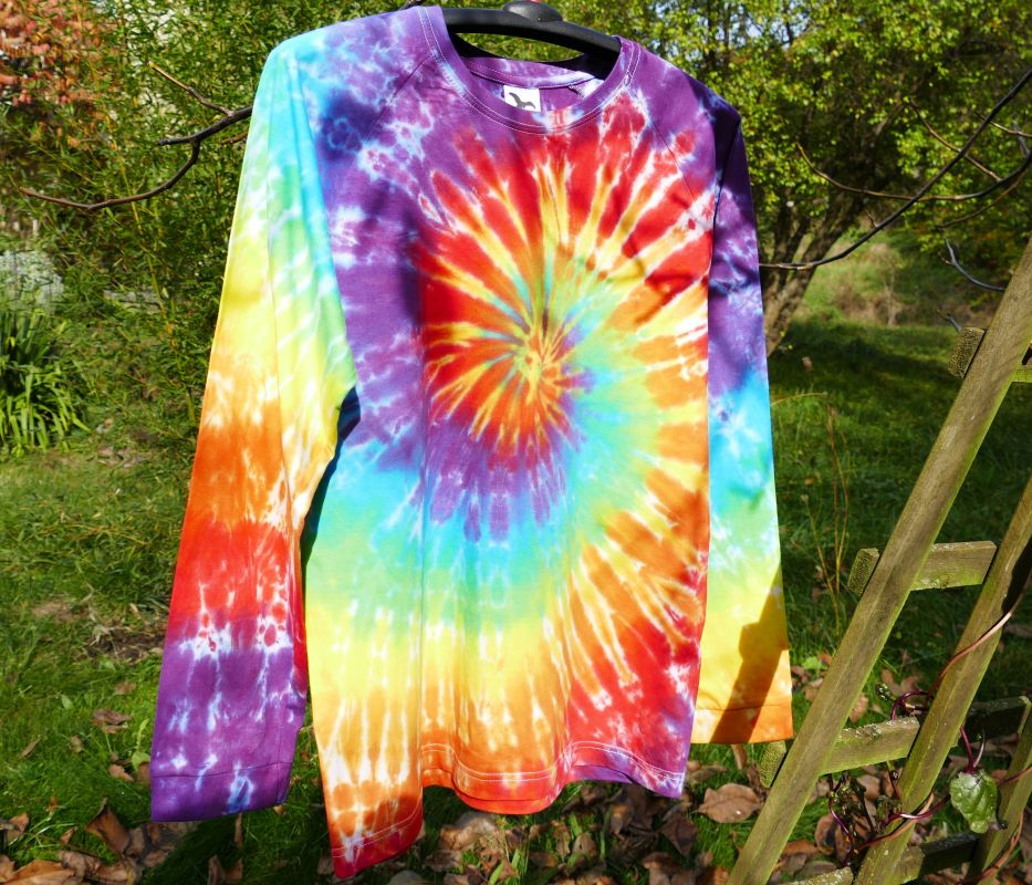 Duhové tričko batika dlouhý rukáv