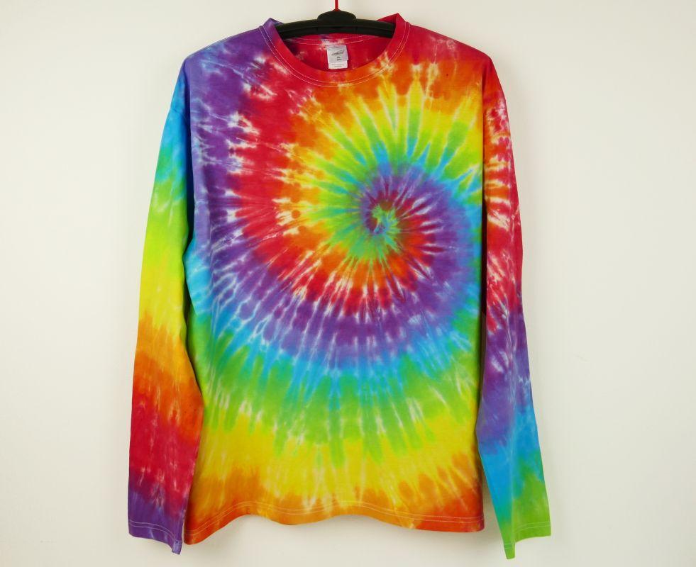 Batikované tričko duhové