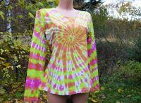 Dámské tričko dlouhý rukáv batika PINK NEON, XL