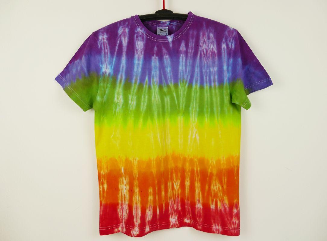 Duhové batikované tričko