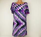 Dámské dlouhé tričko (šaty) FIALOVÝ CIKCAK, XL