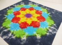 Bavlněný šátek batika DUHOVÁ MANDALA, 63x63
