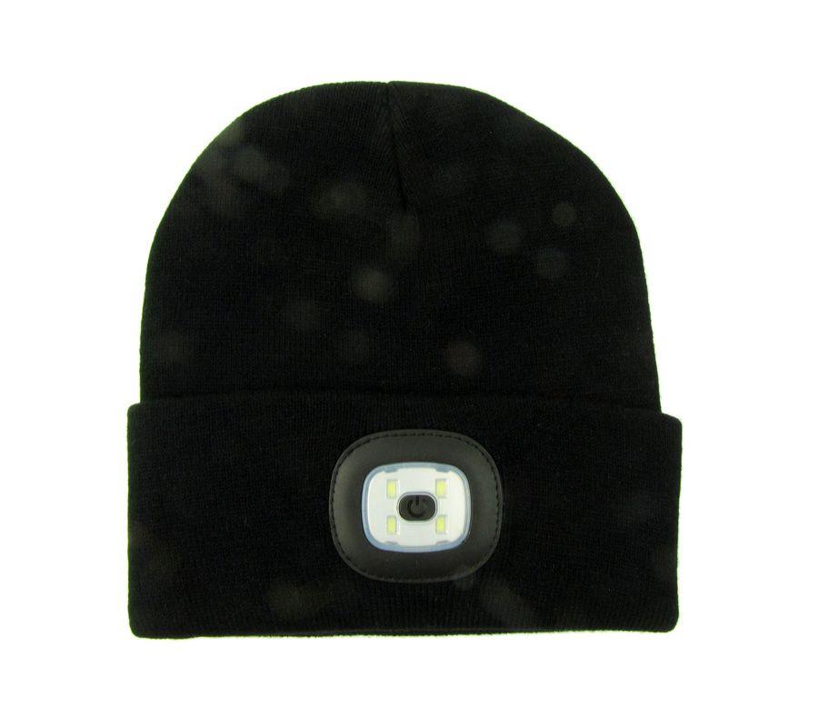Čepice s LED světlem dobíjecí USB černá