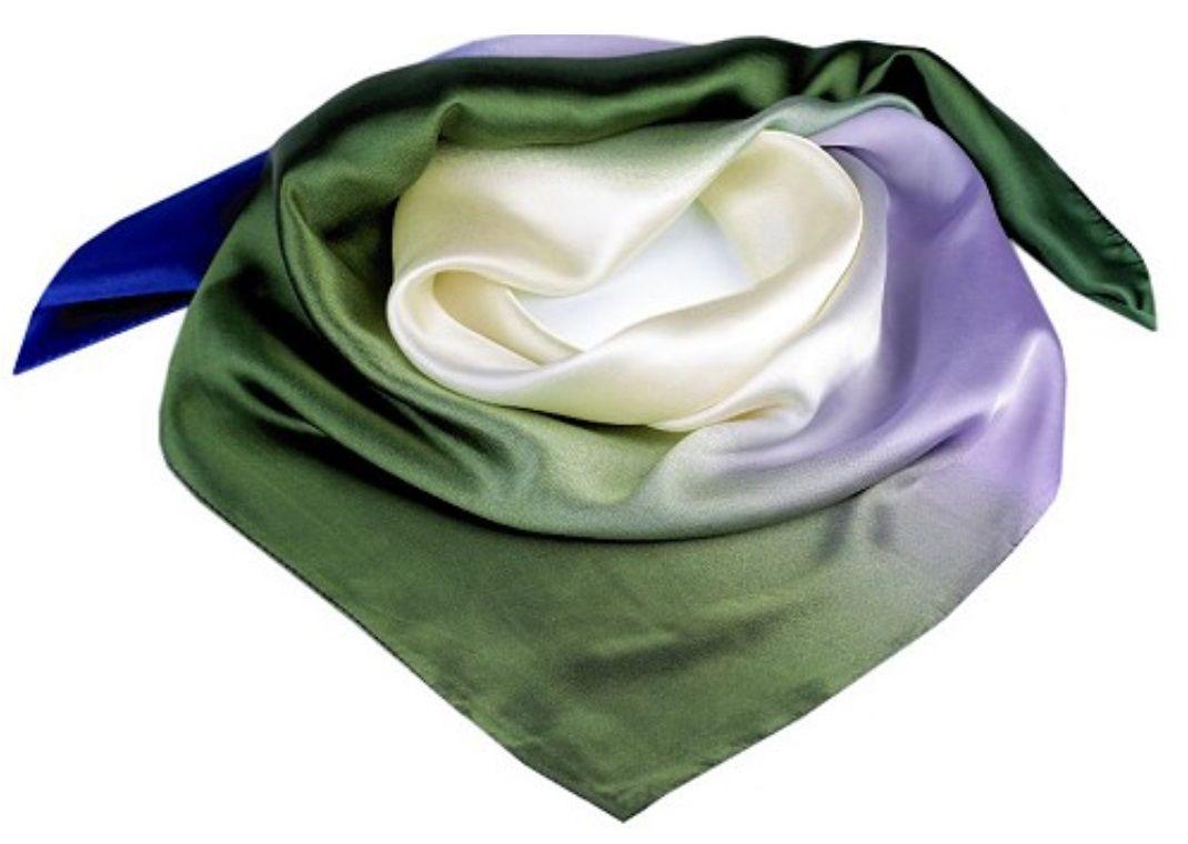 Saténový šátek Zelená-Modrá