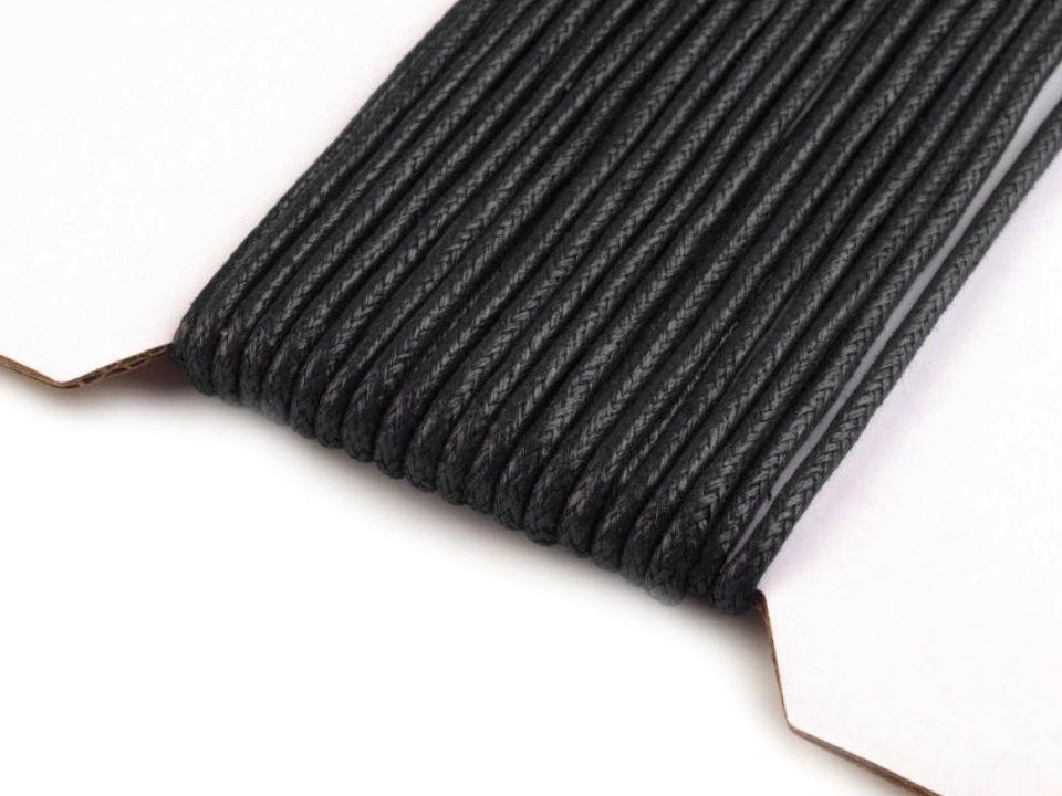 Černá šňůrka na krk bavlněná voskovaná