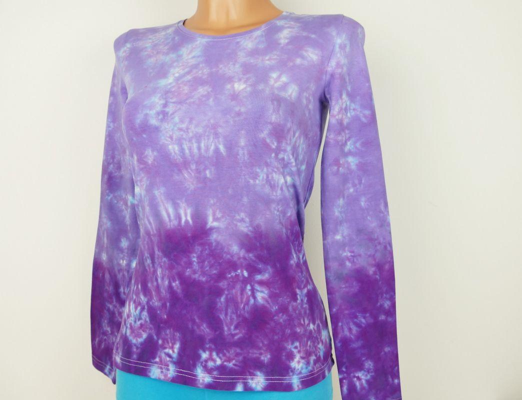 Dámské fialové tričko batika