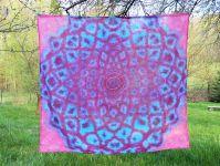 PAREO Šátek velký batika FIALOVÁ MANDALA, 150x140cm
