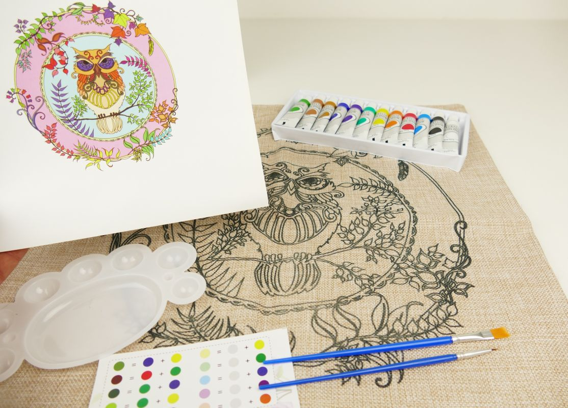 Kreativní sada Polštář + barvy Sova