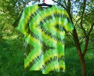 Batikované tričko ZELENÝ CIKCAK, XL