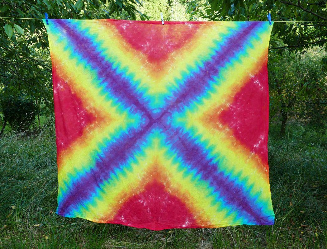 Duhový batikovaný šátek pareo velké