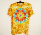 Batikované tričko ŽLUTÁ MANDALA, XL