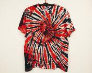 Batikované tričko červená černá