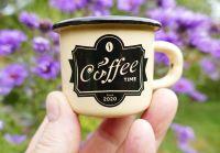 Smaltovaný hrneček MINI COFFEE TIME krémový, 5cm