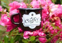 Smaltovaný hrneček MINI COFFEE TIME hnědý, 5cm