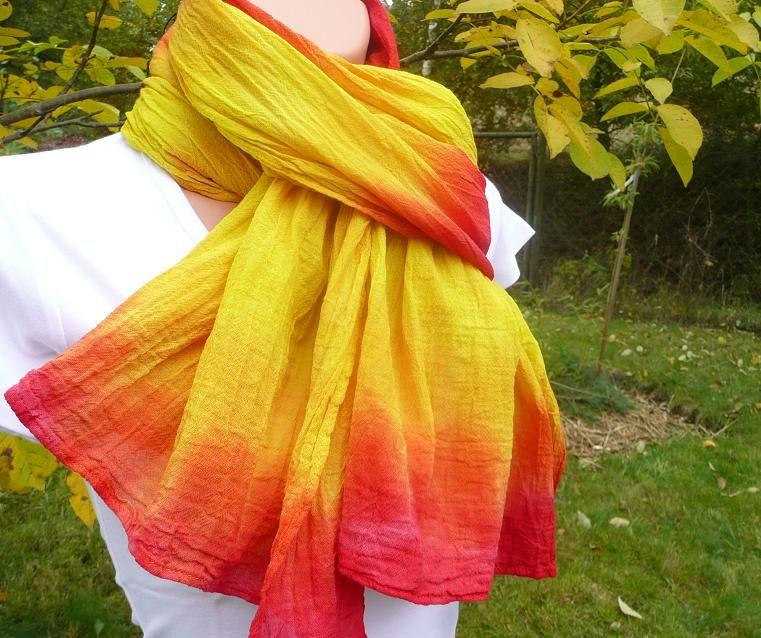 Šátek přírodní batika