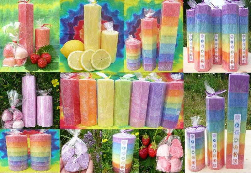 Svíčky barvy čaker -vonné svíčky-čakrové svíčky- včelí vosk